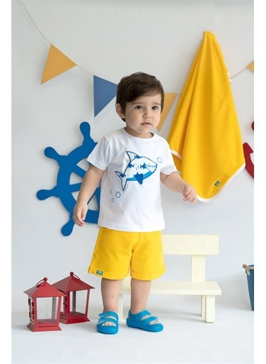 Nila Kids Yellow Blossom Organik Erkek Bebek şort Sarı